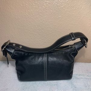Coach Mini Hobo Handbag - Black leather